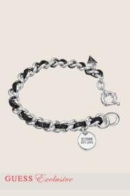 Small Silver-Tone and Leather Chain Bracelet