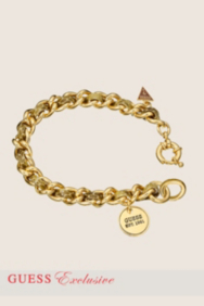 Small Gold-Tone and Leather Chain Bracelet