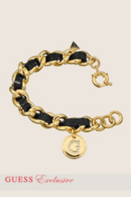Large Gold-Tone and Leather Chain Bracelet