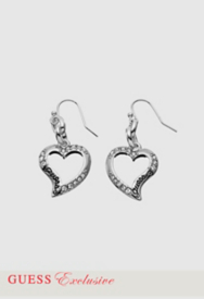 Stone Accent Open Heart Drop Earrings