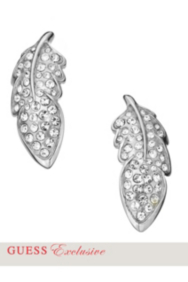 Silver-Tone Pave Feather Post Earrings