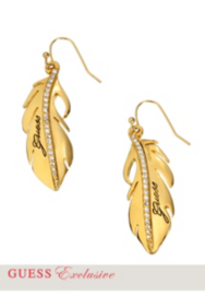 Gold-Tone Feather Drop Earrings