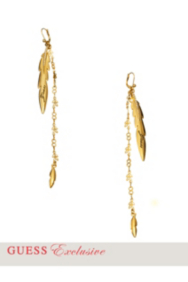 Gold-Tone Linear Feather Drop Earrings