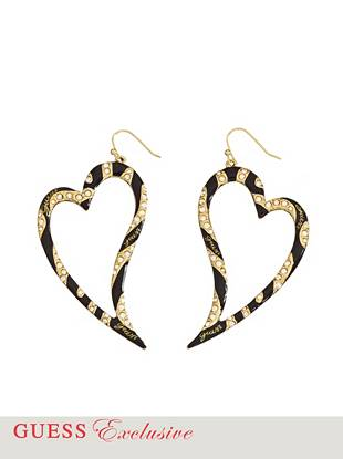 "Infuse your night-out looks with statement sparkle: these bold heart-shaped hoop earrings are sure to have an impact. •	Gold-tone heart shaped earrings  •	Tiger striped with crystals and enamel  •	French hook  •	2 ½"" length  •	Includes exclusive drawstring jewelry pouch Pierced earrings are final sale and may not be exchanged or returned."