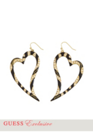 Heart-Shaped Tiger Hoop Earrings