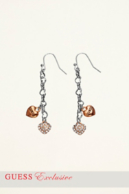 Heart Charm and Chain Earrings