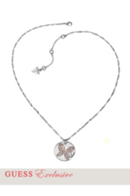 Silver-Tone Butterfly Crystal Pendant Necklace
