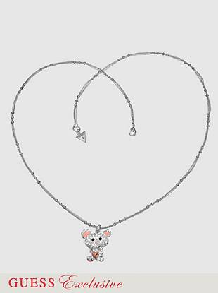 "This blinged out bear will be the highlight of your look. Crystal covered bear pendant hangs on textured silver-tone chain. Includes exclusive drawstring jewelry pouch.  Lobster clasp  20"" long  2"" extender"