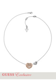 Rose Gold-Tone Pavé Rhinestone Heart Pendant Necklace