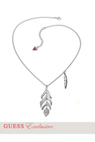 Silver-Tone Feather Pendant Necklace