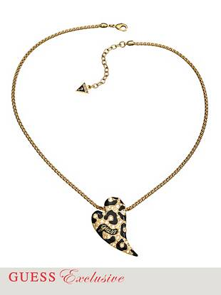 "Dial up the glamour on any look with this ultra-cool leopard-print heart necklace. Genuine inlaid crystals add just the right amount of on-trend sparkle. •	Chain necklace with heart-shaped charm pendant •	Pendant: Leopard-inspired design with enamel and crystals  •	Lobster clasp  •	18"" drop with 2"" extender  •	Includes exclusive drawstring jewelry pouch"