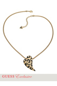 Gold-Tone Leopard-Print Heart Necklace