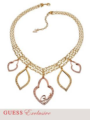 The perfect mix of yellow and rose gold tones make this necklace something to boast about. Pair it with a V-neck blouse or low-cut dress for a sexy statement that'll catch everyone's attention.