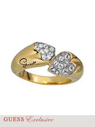 Wear your heart on your sleeve (or your finger, for that matter) with this genuine pavé crystal ring. The unique sliced design lends modern glamour to the lustrous gold-tone style.
