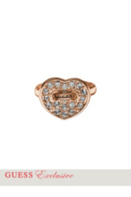 Rose Gold-Tone Pavé Crystal Heart Ring