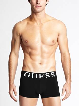 A wide logo waistband and short length make these stretch cotton trunks comfortable and stylish.       • Wide elastic waistband with logo • Pouch front. Seamless back for comfort.  • 95% Cotton, 5% Elastane • Machine wash