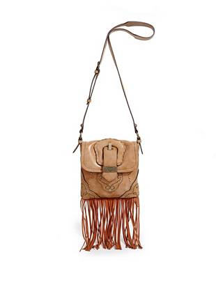 Inspired by the music city itself, this detail-rich cross-body is right in line with fall's most-wanted trend. An oversize buckle, dangling fringe and antique-effect studs deliver a sexy Western vibe while the washed and worn exterior gives it an authentic vintage look.