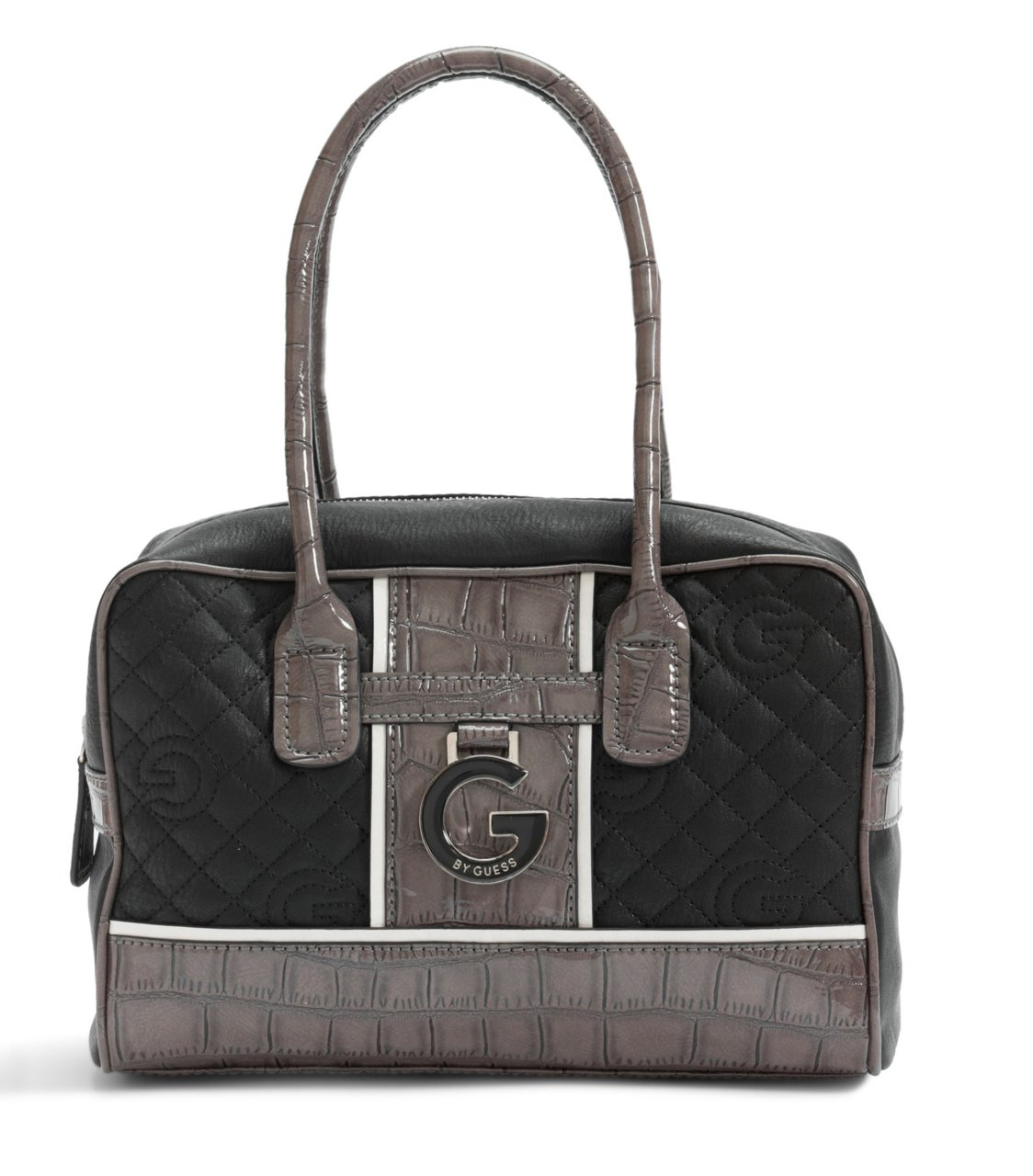 G by GUESS Beverlee Quilted Logo Box Satchel, BLACK
