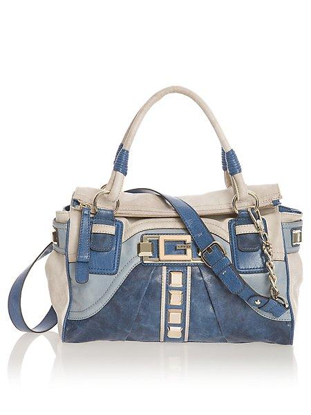 Details about NEW GUESS handbag Ontario satchel purse blue white bag