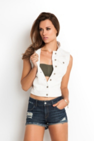 Brittney White Denim Vest