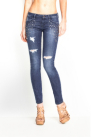 Brittney Ankle Skinny Studded Jeans in Horizon Destroy Wash