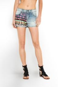 The Festival Collection - India High-Waisted Sequined Denim Shorts