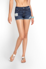 Scarlet Relaxed Denim Shorts in Mid-City Destroy Wash