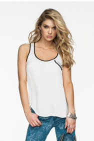 Contrast-Binding Sleeveless Top