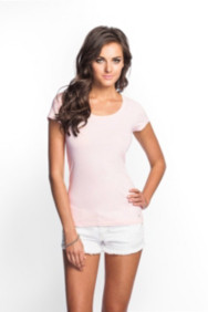 Scoop-Neck Cap-Sleeve Pastel Tee