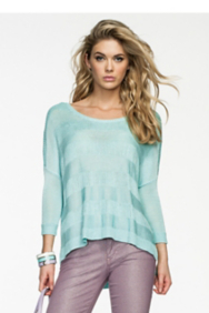 Three-Quarter Sleeve Open Stitch Boxy Sweater