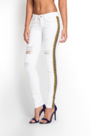 Brittney Skinny White Embellished Jeans with Destroy