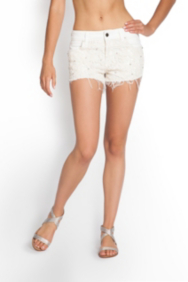 Scarlet Denim Shorts with Lace and Rhinestones