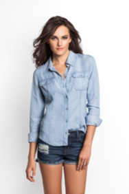 Natalie Denim Shirt in Gumdrop Wash