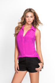 Simona Silk Top with Pockets