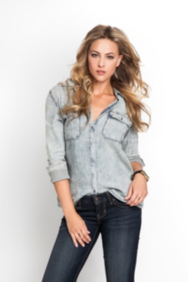 Long-Sleeve Striped Denim Shirt