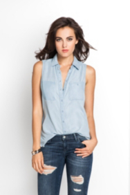 Sleeveless Relaxed Denim Shirt