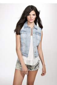 Brittney Embroidered Denim Vest in Civil Wash