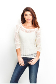 Long-Sleeve Pointelle Sweater
