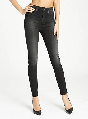 Our slimming high-waist skinny in a faded black wash. A contemporary high rise gives these slim-fit jeans a trend-driven look. Slim through the hip and thigh and skinny from the knee down, this pair hugs your body with perfection for a sexy fit that captures iconic GUESS style. Made with lightweight, power-stretch black denim for all-day comfort, the faded grey wash exudes effortless wear-now edge.