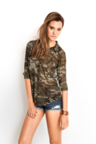 Camo-Print & Lace Button-Down Shirt