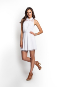 Pleated Shirtdress with Lace