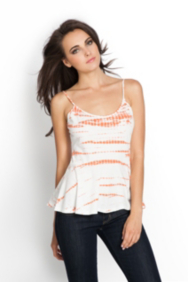 Sleeveless Tie-Dyed Peplum Top