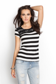 Striped Tee with Lace
