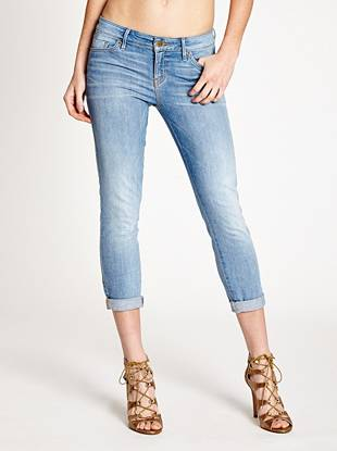 Sexy, flattering and perfect for warm weather—our beloved cropped jeans represent the best of signature GUESS style. Featuring a comfortable medium rise, sleek slim fit and skinny cropped leg opening, this mid-weight, super-stretch pair hugs your body in all the right places. They're washed to a light, carefree shade with a soft feel. Retro buttons and labels add a vintage-inspired look that's in-demand right now.