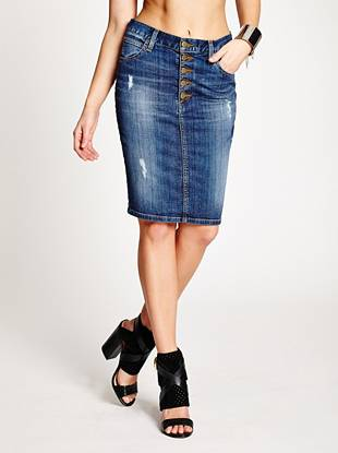 An iconic denim pencil skirt from the GUESS Originals Collection  Channeling retro style with modern appeal, this classic denim skirt captures the true American spirit. It's made with mid-weight stretch denim and washed to a versatile medium dark indigo shade with an ultra-soft feel. Destroyed detail throughout gives it the worn-in appeal of your favorite pieces from the past while retro buttons and labels make it unmistakably GUESS.