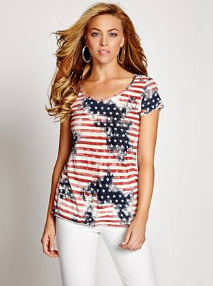 Instantly go from fashion-follower to trend-setter in this modern and unique graphic tee. The distressed American flag print is perfect for summer, and the back cutouts reveal just the right amount of skin.