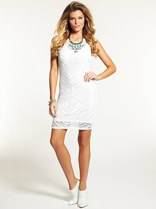 As seen in the Spring 2014 campaign   Boho-inspired crochet construction and a flattering fit take this taste-making dress to the next level. One part casual, one part charming, this effortless piece keeps you both stylish and in the spotlight.