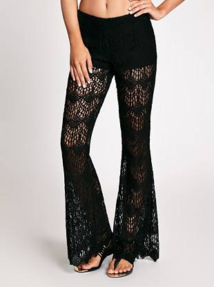 Bring trendsetting boho-chic appeal to your weekend look with these retro-inspired pants. An exaggerated wide leg and allover lace construction delivers obsession-worthy style you'll love.
