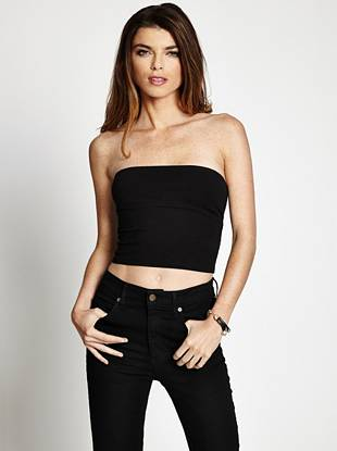 Get into the summer mindset by slipping on this super-stretch tube top. The back cutout offers a sexy surprise, and the knot detail brings that extra something that sets your look apart.
