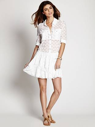 Floral lace and a trend-right boho-chic vibe put this shirt-dress on our list of daytime must-haves.